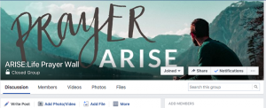ARISE:Life Prayer Wall on Facebook